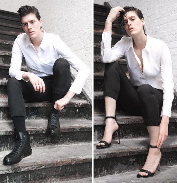 Hem erkek hem de kadın kıyafetlerinin modelliğini yaparak